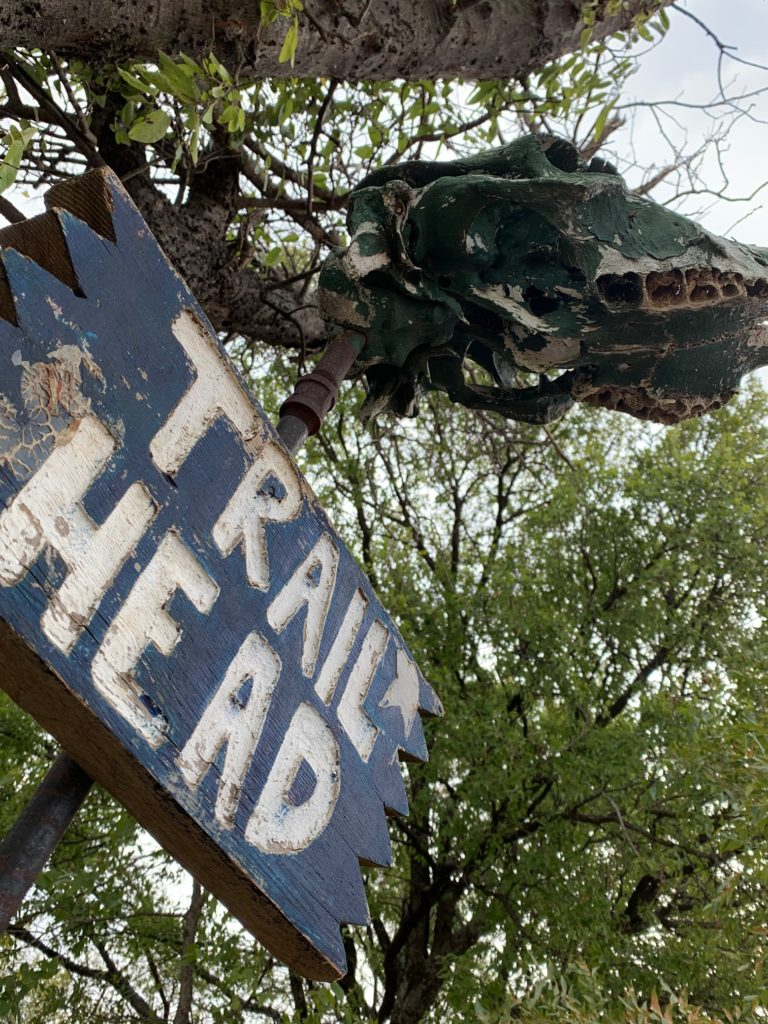 Trail head sign with skull